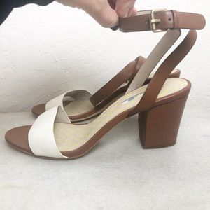 Boden color block leather stacked heel sandal